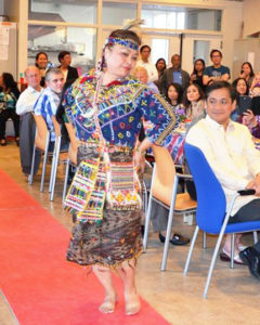 Doris Alfafara is modeling Maguindanao's traditional Bagobo attire, also a brightly coloured handwoven and richly patterned dress. Notably, the wife of the Bagobo tribe has handwoven and designed this particular dress exclusively for Alfafara.