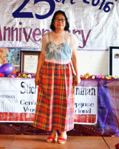 Limbane Molabin is wearing the traditional saya and kimona. Originating from the Visayan region, this colorful handwoven skirt called saya is made of cotton and the top kimona is typically featured with delicate emborideries.